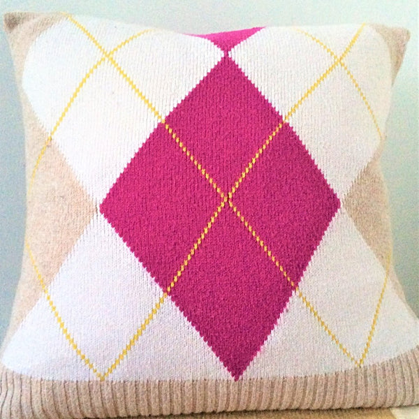 upcycle sweater pillow with beige, ivory and fuschia argyle pattern on one side solid beige on reverse