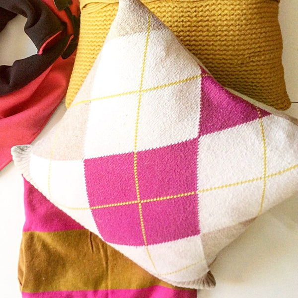 Upcycled Sweater Pillow - Pink and Tan Argyle