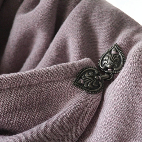 dusty lilac knit neck warmer clasp detail