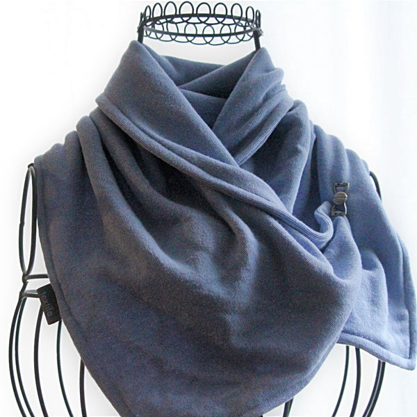 periwinkle blue neck warmer on mannequin