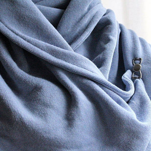 periwinkle blue neck warmer on mannequin close up
