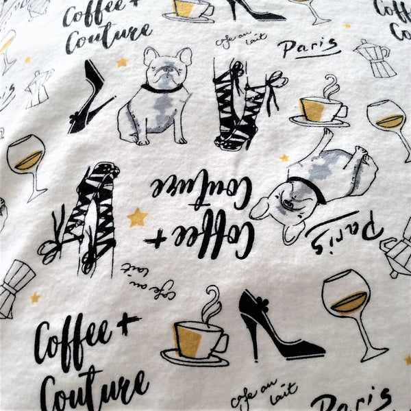 flannel pillowcase close up of white with black and gold Paris themed print