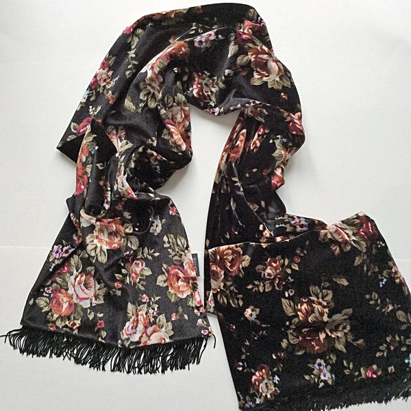 velvet scarf with cranberry and olive floral pattern on black background