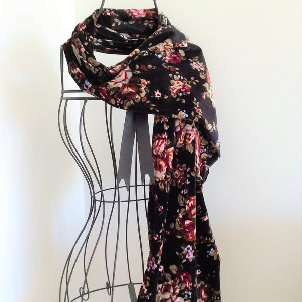 velvet scarf with ivory cranberry and olive floral print on black background
