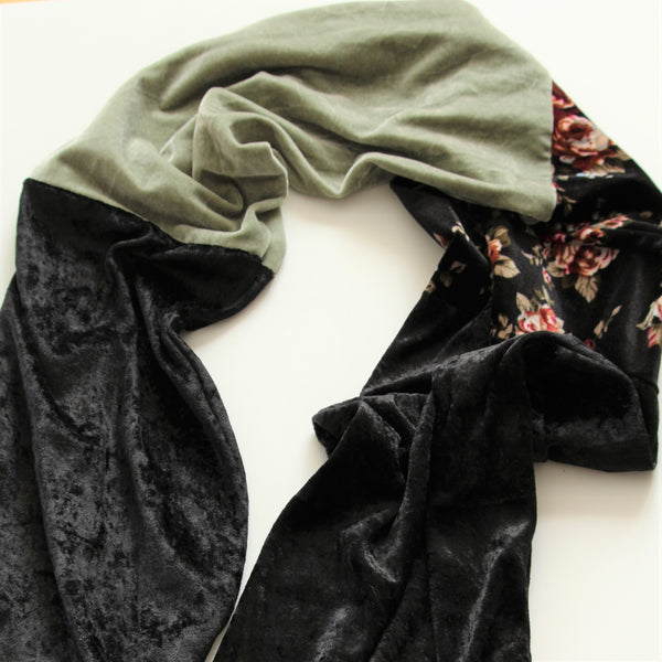 handmade velvet scarf sage green black and floral fabric flatlay on a white background
