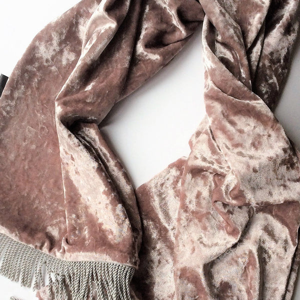 handmade velvet scarf taupe colour flatlay on a white background