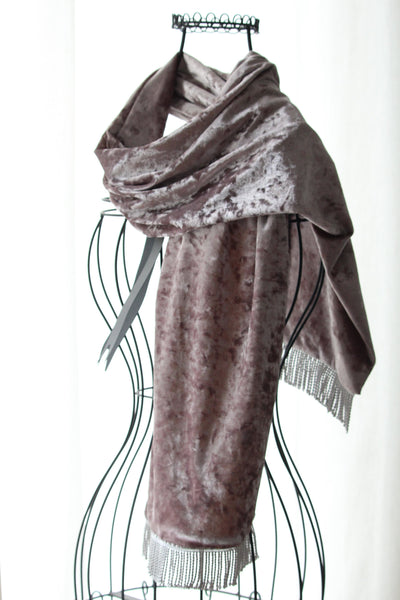 handmade velvet scarf taupe colour on a wire mannequin
