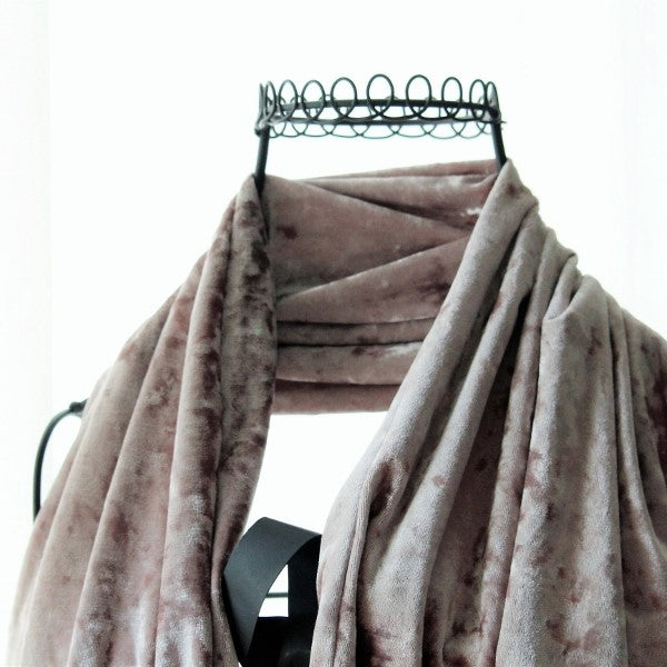 handmade velvet scarf taupe colour close up on a wire mannequin