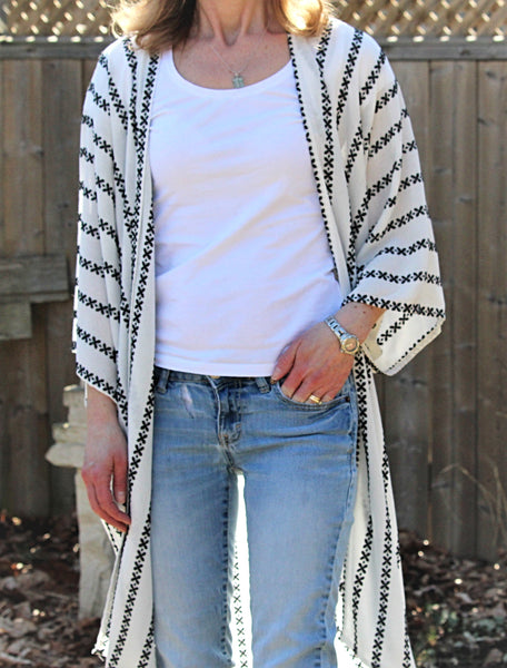 white kimono cardigan with black embroidered stripes duster length