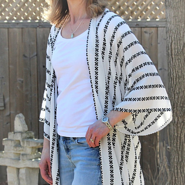 White with Black Kimono Cardigan
