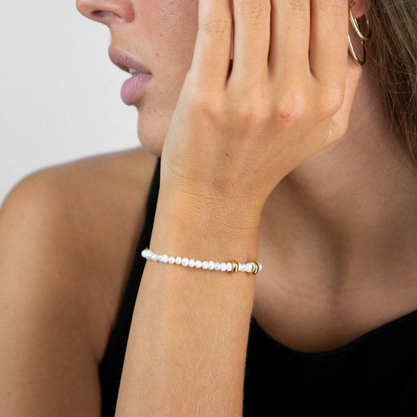 Mini Pearl Pea Bracelet | mother of pearl & gold