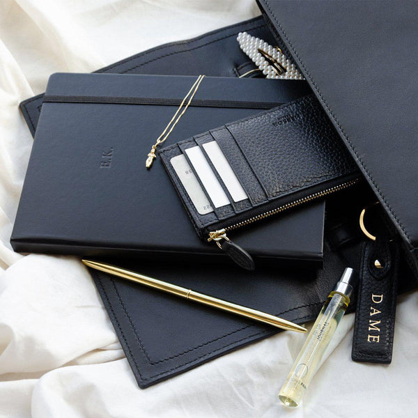 Cardholder With Zipper | Black & Gold