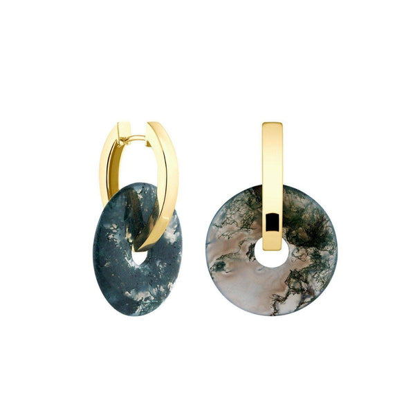 Creoles + Big Moss Agate | Gold