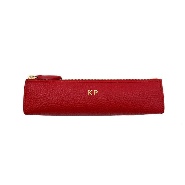 Pencil Case Grained Leather | Scarlet & Gold
