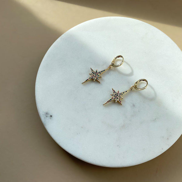 Rainbow Star Earrings VK Collection | Gold