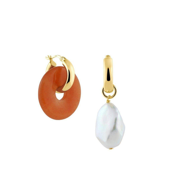 Creoles + Big Orange Aventurine | Gold