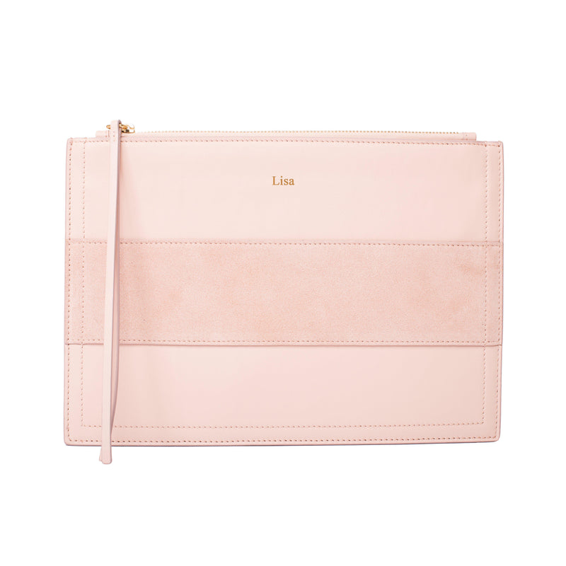 Ledertasche als Big Pouch mit Namen - Soft Blush & Gold | MERSOR