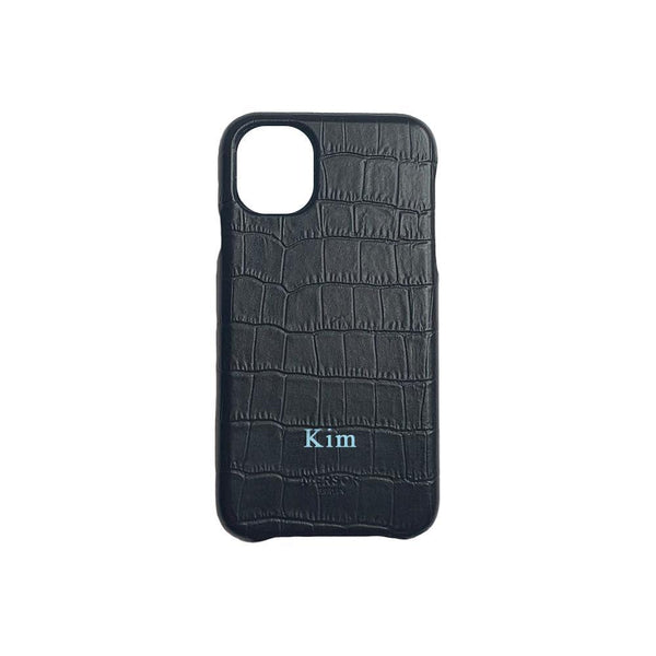 iPhone 12 Case Grainy Leather | Black Croc