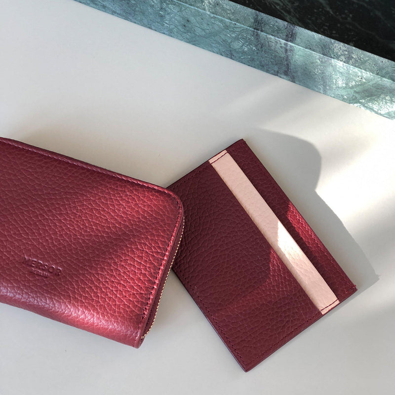 Premium Cardholder Red and Pink Leather | MERSOR