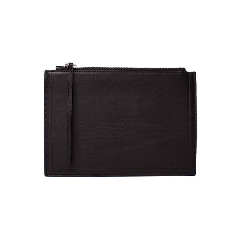 MERSOR Small Clutch in Pouch Style | Black Leather