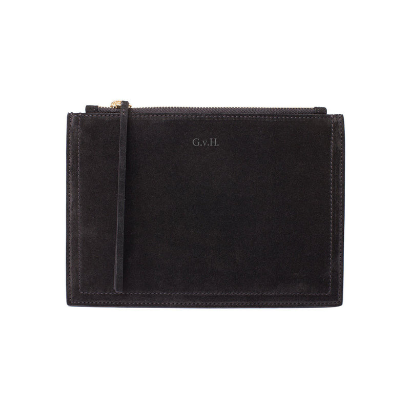 MERSOR | Small Pouch in Black Suede - Monogram it!