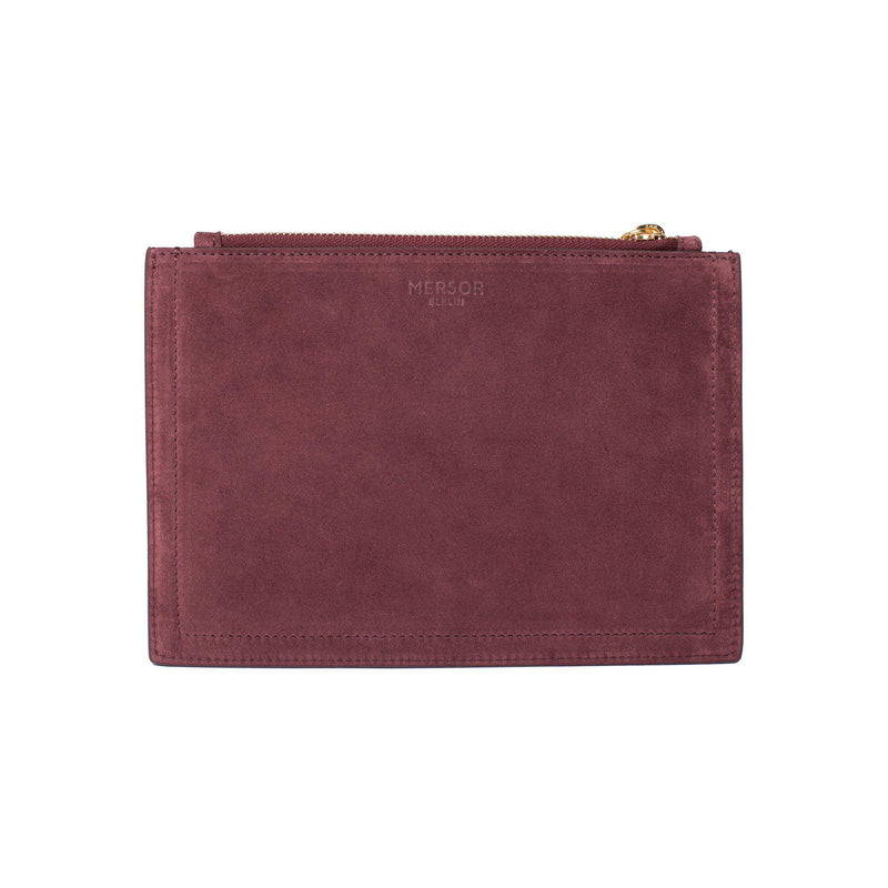 MERSOR | Small Pouch in Wine Suede - Personalize it.