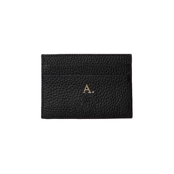 Personalized Cardholder Grainy Black Leather | MERSOR
