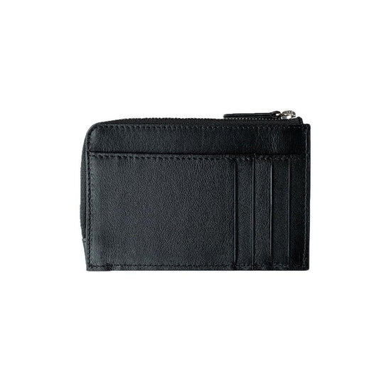 Card Wallet with Zipper | Black & Silver