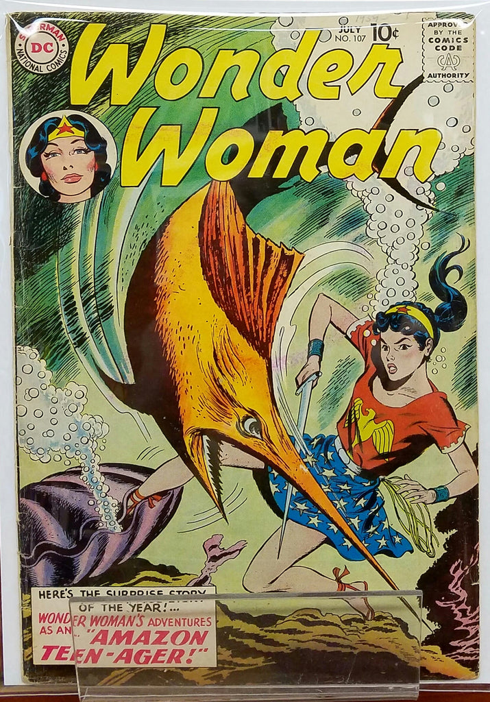 WONDER WOMAN #107 (1959) ORIGIN WONDER WOMAN COSTUME-VG/FINE