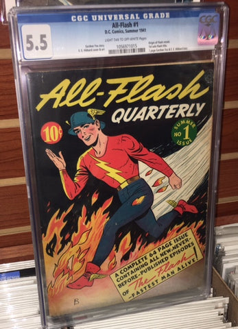 ALL FLASH #1 CGC GRADED 5.5 1941 1ST SOLO FLASH GARDNER FOX