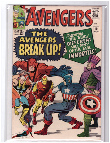 AVENGERS #10 1ST APPEARANCE IMMORTUS STAN LEE JACK KIRBY-VF+