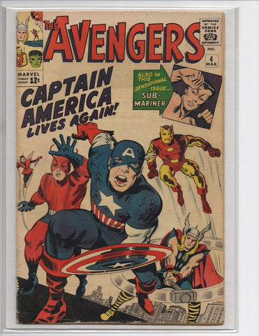 AVENGERS #4 1ST SA APPEARANCE OF CAPTAIN AMERICA-VG+