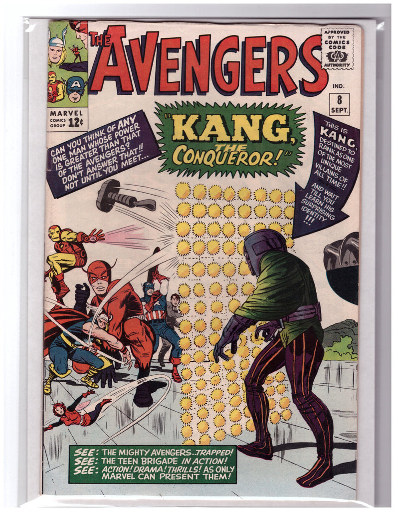 AVENGERS #8 STAN LEE JACK KIRBY 1ST APPEARANCE KANG-VF+
