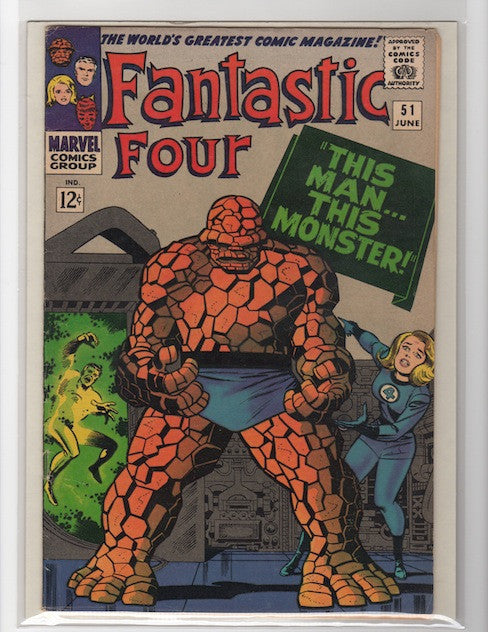 FANTASTIC FOUR #51 THIS MAN, THIS MONSTER-MARVEL 1966 VF+