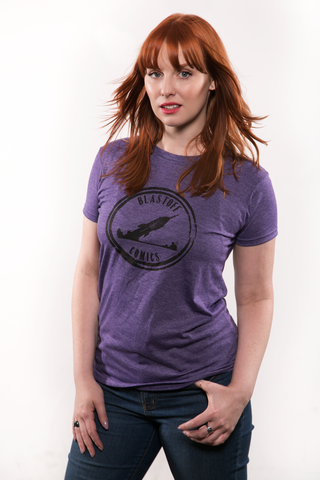 BLASTOFF WOMEN'S PURPLE HEATHER T-SHIRT SIZE SMALL