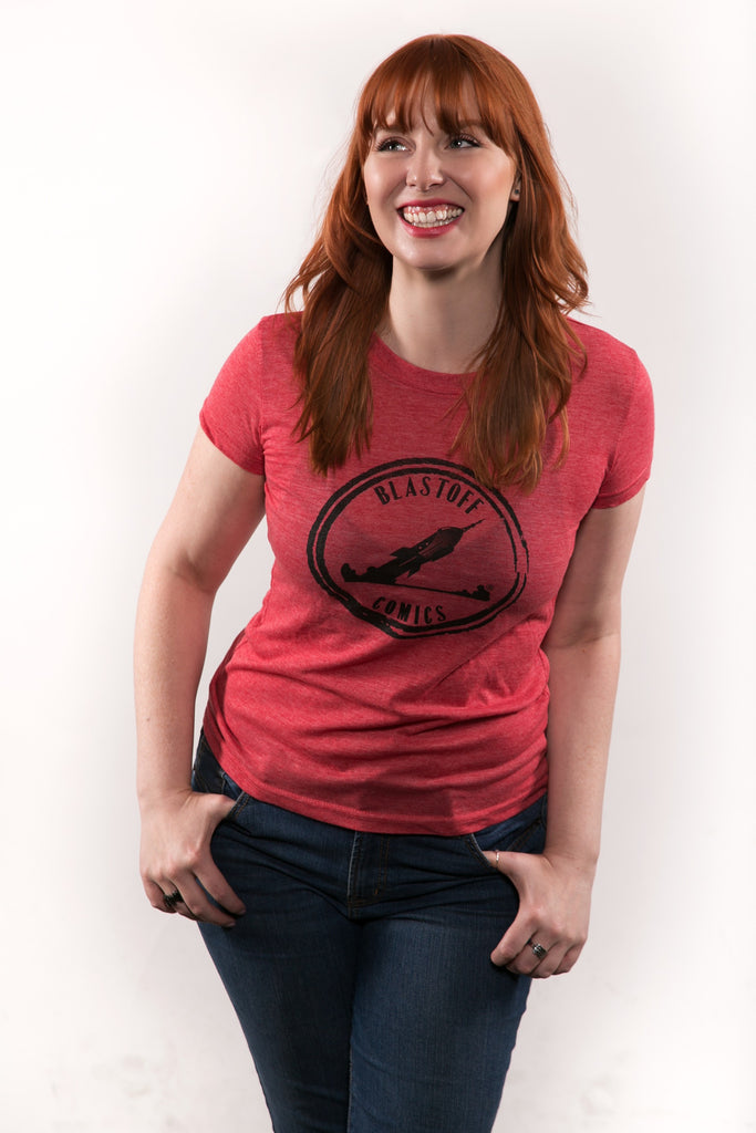 BLASTOFF WOMEN'S RED HEATHER T-SHIRT SIZE MEDIUM