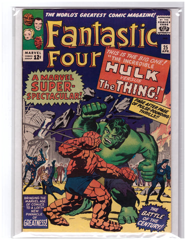 FANTASTIC FOUR #25 JACK KIRBY 1ST HULK VS. THING-VF/VF+