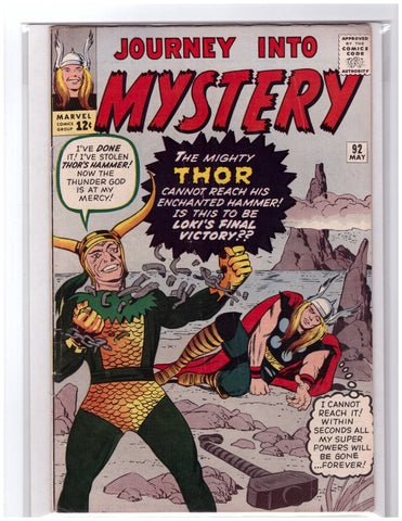 JOURNEY INTO MYSTERY #92 THOR STAN LEE JOE SINNOTT-FINE+