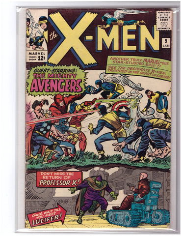 X-MEN #9 (1963) STAN LEE JACK KIRBY AVENGERS GUEST STAR-FINE