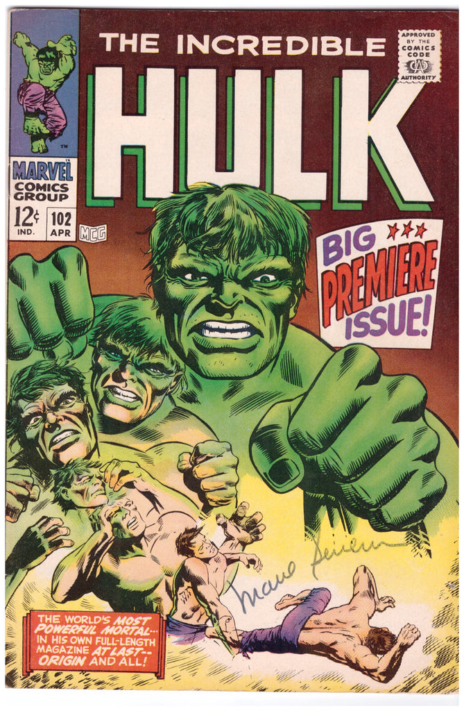 INCREDIBLE HULK #102 SIGNED BY MARIE SEVERIN ORIGIN RETOLD-VF/NM