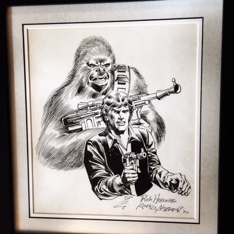 STAR WARS ORIGINAL ART PAGE RICK HOBERG HAN SOLO CHEWBACCA SIGNED