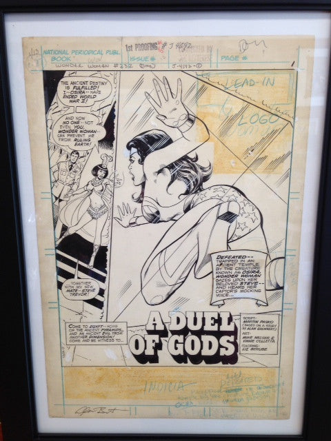 WONDER WOMAN #232-ORIGINAL ART SPLASH PAGE with SIGNED SCRIPTS-ALAN BRENNERT COLLECTION