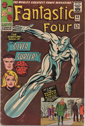 FANTASTIC FOUR #50 (1966) GALACTUS BATTLES THE SILVER SURFER-VG+/FN