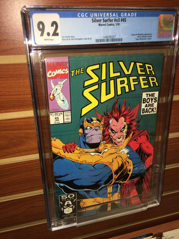 SILVER SURFER #45 CGC GRADED 9.2 WHITE PAGES THANOS INFINITY GAUNTLET
