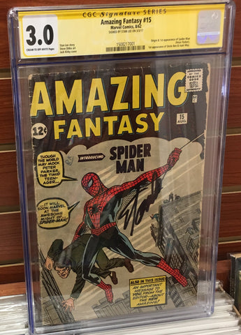 AMAZING FANTASY #15 1ST APPEARANCE SPIDER-MAN CGC 3.0 SIGNED STAN LEE
