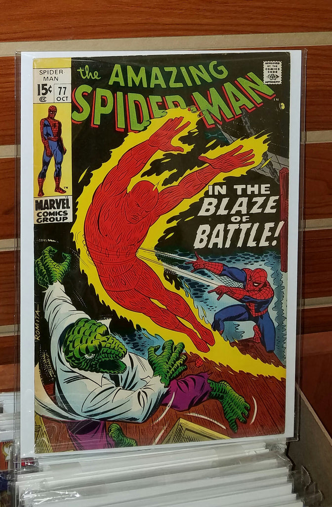 AMAZING SPIDER-MAN #77 (1969) JOHN ROMITA COVER HUMAN TORCH LIZARD-VF