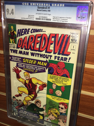 DAREDEVIL #1 CGC GRADED 9.4 1ST APPEARANCE STAN LEE JACK KIRBY BILL EVERETT
