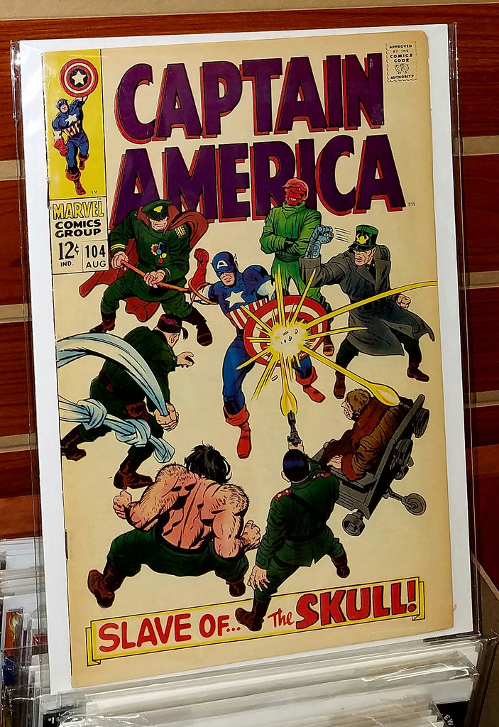 CAPTAIN AMERICA #104 (1968) JACK KIRBY COVER-FINE-
