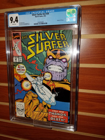 SILVER SURFER #34 CGC GRADED 9.4 WHITE PAGES THANOS INFINITY GAUNTLET