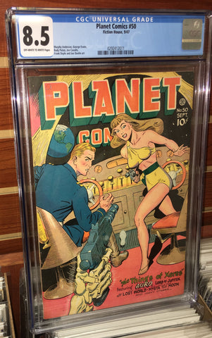 PLANET COMICS #50 (1947) CGC GRADED 8.5 FICTION HOUSE MURPHY ANDERSON